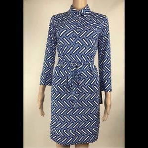 Donna Morgan Long Sleeve Button Tie Waist Dress